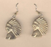 INDIAN CHIEF VINTAGE EARRINGS - Native-American Jewelry Vintage Gold-tone, Genuine BRASS-stamped charm.