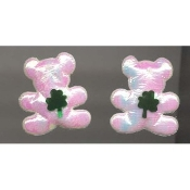SHAMROCK TEDDY EARRINGS - St Patricks Day Jewelry - Puffy WHITE