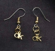 OKAY - OK - EARRINGS - American Universal Symbol Jewelry - Tiny Vintage GOLD-tone O.K. Charm - Meaning everything is alright !!!
