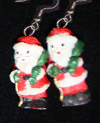 Miniature Resin SANTA CLAUS EARRINGS - Christmas Holiday Old-World Costume Jewelry -I