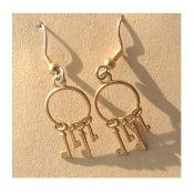 SKELETON KEYS EARRINGS - Gold Brass Scrapbook Jailor Key Charm Jewelry -B