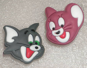 Big Funky TOM and JERRY POST EARRINGS - Retro TV Cartoon Costume Jewelry