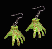 Huge Slime Green Bloody Walkers ZOMBIE HAND EARRINGS - Halloween Frankenstein Monster Ghoul Hands - Spooky Gothic The Walking Dead Inspired Charm Jewelry for any THING Collector! Colorful dimensional fingers. Scary Creepy Crawling Severed Body Parts.