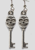 Mini Tibetan Silver Metal SKELETON SKULL HEAD KEYS EARRINGS - Haunted House Key Cosplay Charm Jewelry