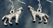 Gothic Tibetan Silver Pewter Charm WEREWOLF HOWLING WOLF EARRINGS - Perfect for any aspiring lycanthrope, vampire enemy or supernatural hunter.