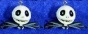 JACK SKELLINGTON DANGLE EARRINGS - Nightmare Before Christmas - Gothic Accessory -F- Halloween Zombie Skeleton Pirate Charm Headhunter Witch Doctor Skulls Costume Jewelry