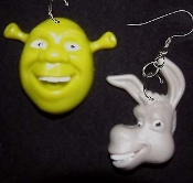 Funky Huge SHREK and DONKEY EARRINGS - Green OGRE and his Gray Mule Jackass best friend Cartoon Movie Toy Costume Jewelry - Big dimensional plastic character charms