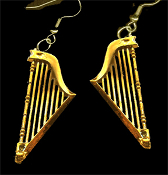 HARP EARRINGS - Classic Miniature Musical Instrument Jewelry - Small GOLD mini plastic charms, approx.1-5/8-inch Tall.