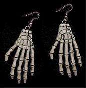 Huge ZOMBIE SKELETON HANDS EARRINGS - Halloween Grim Reaper Wicca Witch Doctor Pirate The Walking Dead Costume Jewelry - Bony, Murky Black, Realistic, Plastic Mummy Ghoul SKELATON FINGERS. Big Plastic Charms, each approx. 3-inch L x 1-1/2-inch W.