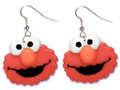 Huge Funky ELMO RED MONSTER DANGLE EARRINGS - Big Sesame Street 3-D TV Character Costume Jewelry - Large Plastic Half-Dimensional Charms, each approx. 1-3/8-inch (3.44cm) diameter. Great teacher gift!