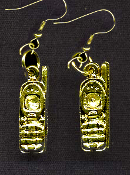 Pewter Charm PHONE EARRINGS - Cordless or Cell Telephone Jewelry -GOLD-tone