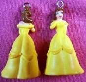 Mini DISNEY PRINCESS EARRINGS - Beauty and The Beast - Animated Movie Cartoon Jewelry - BELLE - Miniature 3-dimensional costume jewelry plastic toy charms ornaments. Even the Beast would be calm if he saw you wearing these!