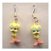 Funky Mini Figure TWEETY BIRD EARRINGS - Sylvester Cat Friend Yellow Canary Looney Tunes Novelty Costume Jewelry - Favorite funny classic cartoon comics character animal theme dangle charm miniature ornament fully dimensional figurine.