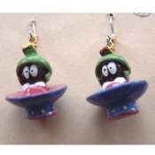 Miniature MARVIN the MARTIAN EARRINGS - Alien E.T. Looney Tunes Cartoon Character Charm Costume Jewelry 3-dimensional licensed Bugs Bunny Warner Bros 3-d Mini Figure Rubbery Plastic Charms, each approx. 1-inch tall.