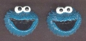 Resin COOKIE MONSTER BUTTON EARRINGS - Sesame Street 3-D TV Jewelry - Big Dimensional Post Stud Charms, each approx. 3/4-inch diameter.