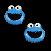 HUGE Resin COOKIE MONSTER BUTTON EARRINGS - Sesame Street 3-D TV Jewelry - Extra-Large Dimensional Post Stud Charms, each approx. 1-inch diameter. Fun for any Muppets fan... Great teacher gift!