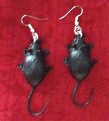 Big Funky Black MOUSE EARRINGS - Gothic Halloween Rat Rodent Animal Witch Charm Costume Jewelry - Large Retro Vintage Toy Mice Rats. Rubbery Plastic Critter Charms, each approx. 1-5/8-inch long, without tail. You'll love these MEECES to PIECES!