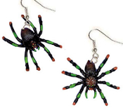 Giant Assorted Painted SPIDER TARANTULA EARRINGS - Halloween Gothic Punk Jewelry - Huge, Rubbery, Plastic Toy Charm Halloween Costume accessory for cosplay Vampire, VooDoo Priestess, Witch Doctor, Head Hunter, Witch, Wizard or Zombie!