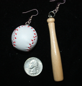 Big Realistic BASEBALL and BAT EARRINGS - SOFTBALL Coach Sports Team Charm Costume Jewelry - HUGE Authentic-style, Detailed vinyl Leather-like (Pleather?) 3-D Genuine-look giant-size Ball and Wood BASEBALL BAT. Take me out to the Ball Game !!!