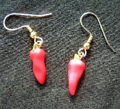 Chili Pepper Earrings - Rubbery Plastic Mexican Garden Vegetable Charm