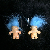 NEW - Funky Vintage Lucky TROLL DOLL EARRINGS - Miniature Retro Nostalgic Collectible Toy Charm Costume Jewelry - BLUE - Nostalgic mini trolls approx. 1-inch tall (2.5cm) without hair. Made in Korea. Fun to collect and wear!