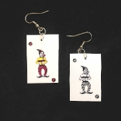Funky JOKER PLAYING WILD CARDS EARRINGS - Jokers Wild Card Las Vegas Casino Luck Costume Jewelry - Poker Gin Rummy Canasta Euchre BlackJack Lucky Charm. Plastic coated paper charms. Great gift for your favorite gambler or card shark!