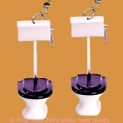 Funky Mini Novelty Bathroom TOILET EARRINGS - Funny Restroom Commode Loo John Bath Plumbing Cleaning Fixture Charm Costume Jewelry - Funky kitsch miniature plastic Plumber Maid House-cleaning charm. Great for a ''potty'' mouth!