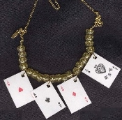 4-ACES PLAYING CARDS NECKLACE - Lucky Casino Luck Charm Novelty Costume Jewelry - Plastic coated paper charms, approx. 1.5-inch (3.75cm) tall, surrounded by your color choice of acrylic Beads.
