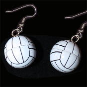Funky VOLLEYBALL EARRINGS - Team Player Referee Coach Gift Big Dimensional Charm Jewelry - Metal
