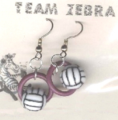 VOLLEYBALL BEAD RING EARRINGS - Coach Charm Gift - Team Player Jewelry - PURPLE Ring. Spike this!