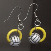 VOLLEYBALL BEAD RING EARRINGS - Coach Charm Gift - Team Player Jewelry - YELLOW Ring. Spike this!