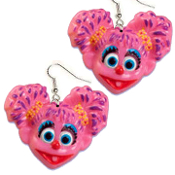 Big Funky ABBY CADABBY EARRINGS - Sesame Street TV Costume Jewelry