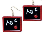Funky Huge ABC BLACKBOARD EARRINGS - Mini School Teacher Classroom Red Apple Chalkboard Costume Charm Jewelry. Unique graduation gift for that special Classroom Assistant, Lunch Mom, or Student Teacher! Note: Blackboard Designs and Styles vary.