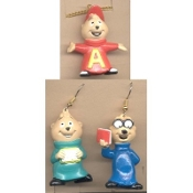 ALVIN and the CHIPMUNKS EARRINGS and NECKLACE Trio Jewelry SET - ALVIN NECKLACE, Simon and Theodore EARRINGS - Retro TV Novelty Cartoon Character Costume Jewelry - Set includes ALVIN Necklace, Simon and Theodore Mismatched Earrings