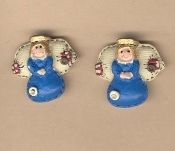 Resin GUARDIAN ANGEL COUNTRY BUTTON EARRINGS - Charm Jewelry