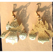 Brass Filigree GUARDIAN ANGEL EARRINGS - Religious Faith Charm Jewelry