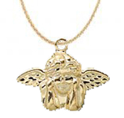 Day-Dreaming CHERUB CUPID ANGEL WINGED EARRINGS - Gold-Plated Love Charms Jewelry - Vintage Victorian style, Day-Dreamer miniature stamped metal charm on neck chain, or optional black choker. Great gift for your Valentine sweetheart!