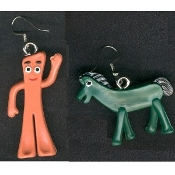 ANTI-GUMBY - ANTI-POKEY EARRINGS - Vintage Mini Toy Charm Jewelry - Gumby and Pokey's arch-enemies