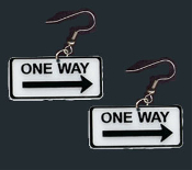 Huge Funky ONE WAY TRAFFIC ROAD STREET SIGN SIGNAL EARRINGS-Arrow points to punk fun! School Bus Driver, Crossing Guard, Police Officer, Teacher Replica Costume Jewelry. Big Black and White plastic charm 1.75-inch Wide. It's MY WAY or the Highway!