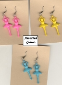 BALLERINA EARRINGS - Dance Teacher Dancer Charm Jewelry - Assorted Resin -1 Pair