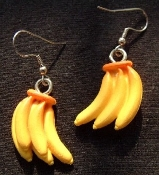 Mini BANANA BUNCH EARRINGS - Resin Garden Fruit Charm