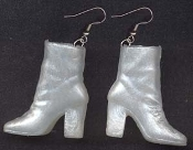 BARBIE ANKLE BOOTS / SHOES EARRINGS - White - Novelty Mini Fashion Doll Toy Jewelry