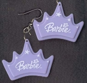 BARBIE CROWN / PRINCESS TIARA EARRINGS - Doll Collectible Jewelry - PASTEL PURPLE / LAVENDER - BIG Dimensional Charm