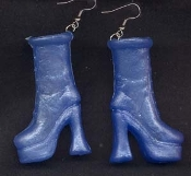 BARBIE PLATFORM BOOTS / SHOES EARRINGS - Blue - Novelty Mini Fashion Doll Toy Jewelry