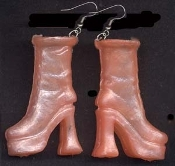 BARBIE PLATFORM BOOTS / SHOES EARRINGS - Tangerine - Novelty Mini Fashion Doll Toy Jewelry