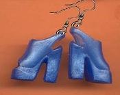BARBIE PLATFORM SANDALS SHOES EARRINGS - Blue - Novelty Mini Fashion Doll Toy Jewelry