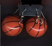 Large BASKETBALL EARRINGS - Team Coach Cheerleader Ref Jewelry - 3-D Hollow Metal