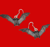 Big Miniature Funky Flying BLACK BAT EARRINGS - Halloween Twilight Goth Costume Jewelry - Dracula Symbol Scary Winged Charm. Cool classic gothic accessories for Halloween Party, Dark Shadows, True Blood or Vampire Diaries fan.