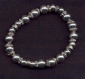 BEADS STRETCH BRACELET - Great-for-Charms - SILVER-tone -FANCY