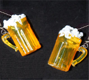 Realistic Foamy BEER MUGS EARRINGS - Sports Bar Pub Party Jewelry